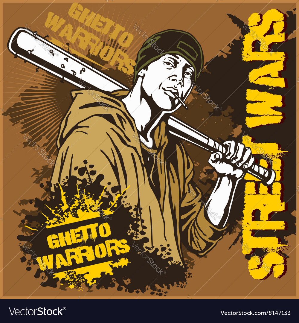 Hooligan with baseball bat Ghetto Warriors vector image