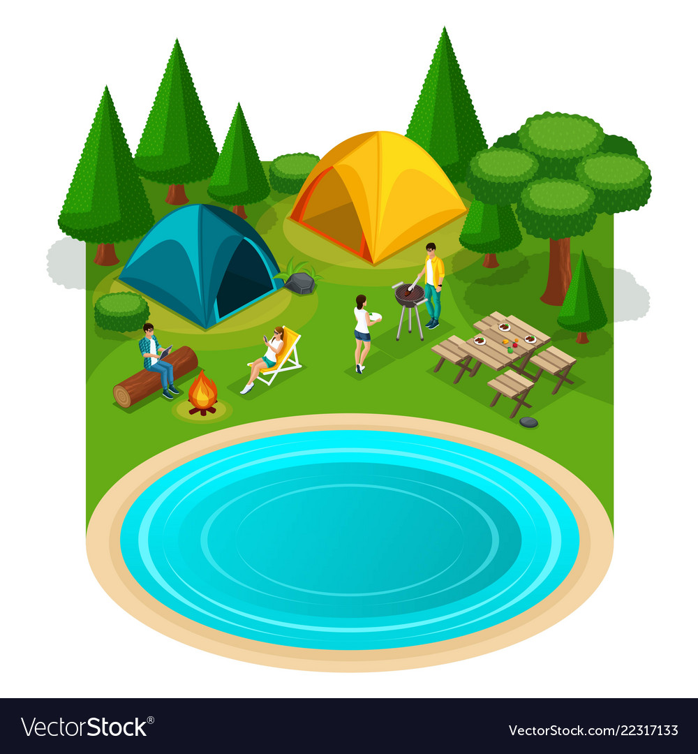 Isometric expedition travel hiking webpage with w