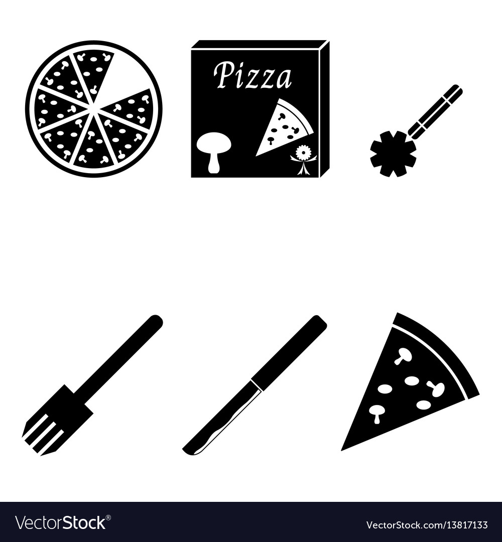Pizza icons set vector image