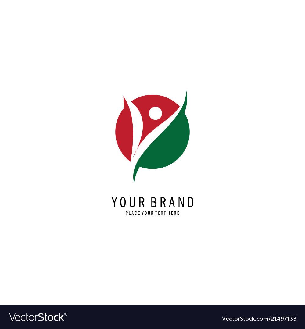 Round letter v people logo