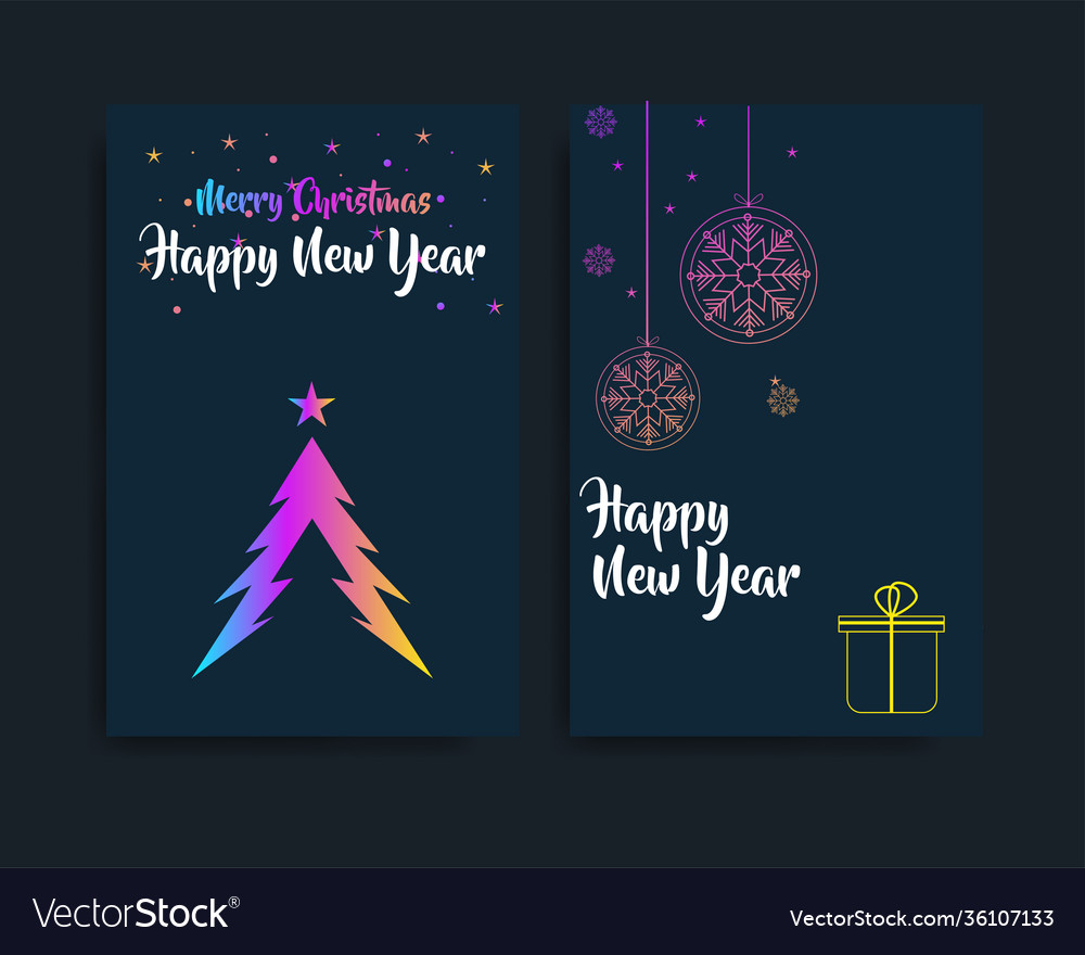 Set card merry christmas and happy new year