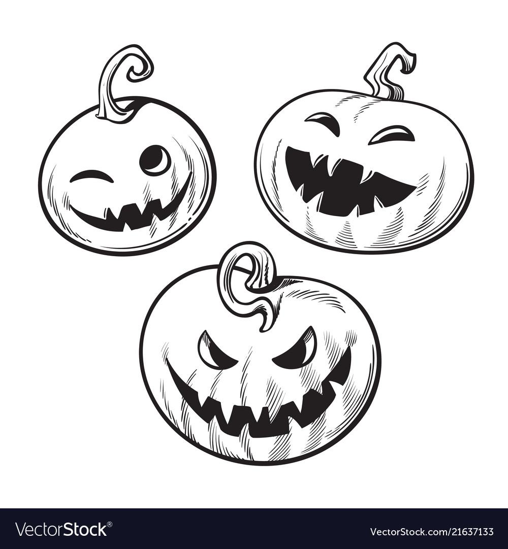 Halloween Vector Black And White.Set Of Black And White Cartoon Halloween Pumpkins