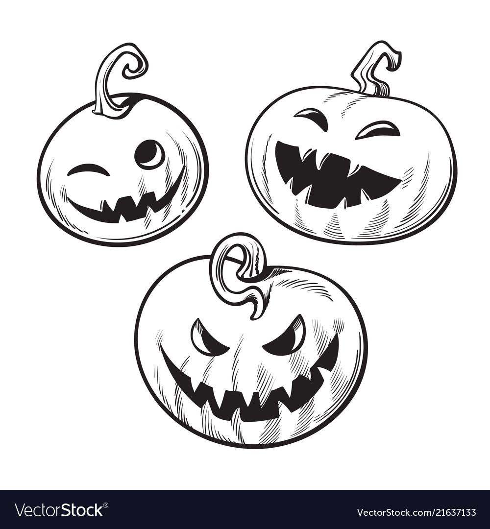 Set of black and white cartoon halloween pumpkins