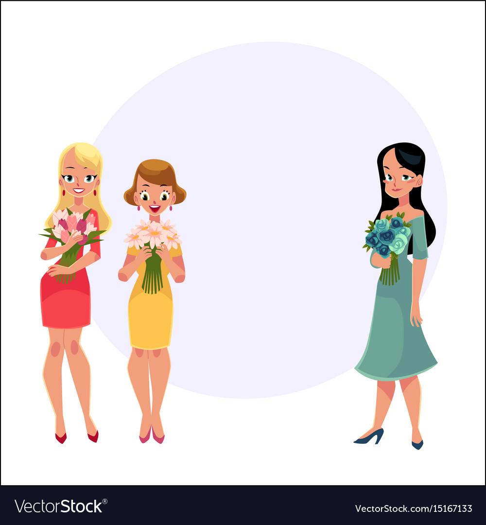 Three beautiful women girls friends standing