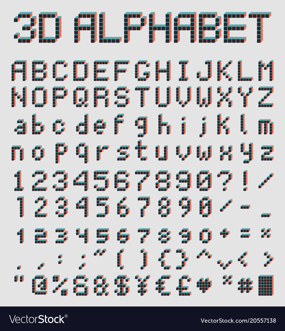 3d Pixel Font Retro Style Alphabet Royalty Free Vector Image