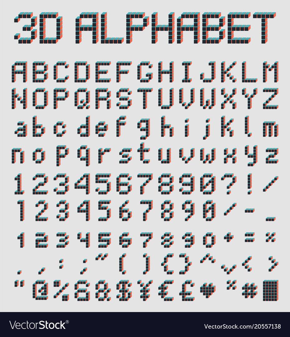 3d pixel font retro style alphabet