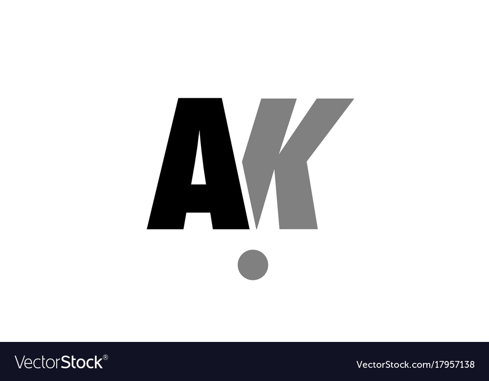 Ak A K Black White Grey Alphabet Letter Logo Icon Vector Image