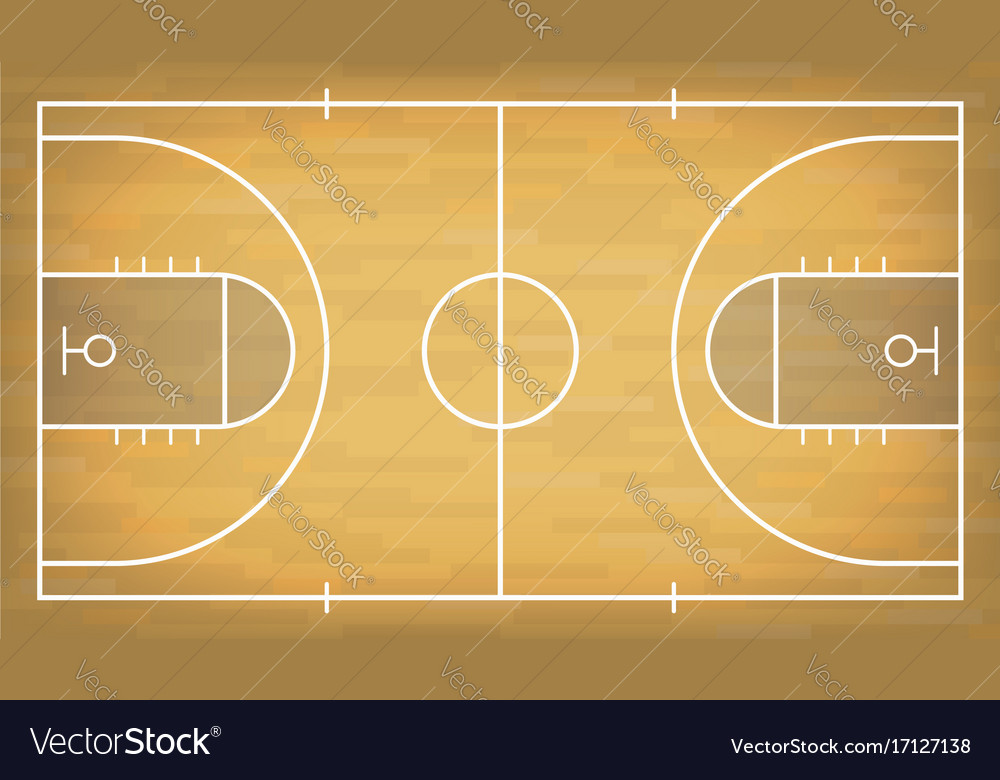 Basketball court with wooden floor view from above