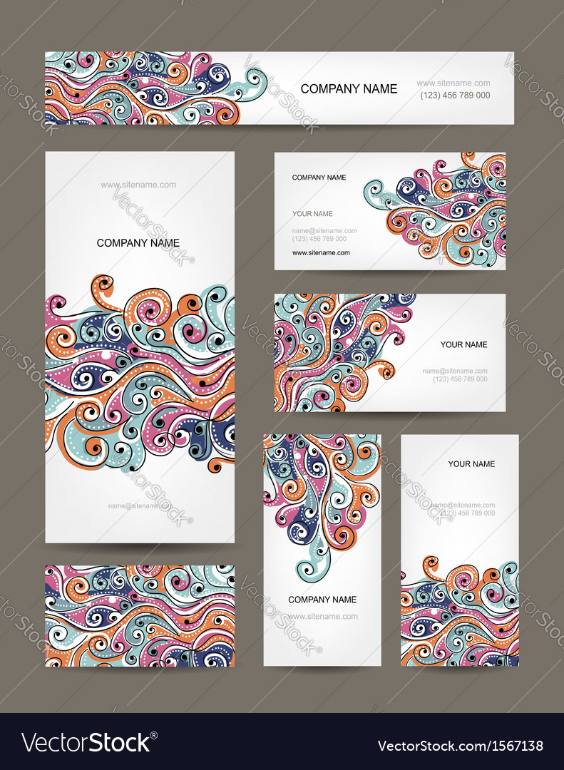 Business cards collection abstract waves design