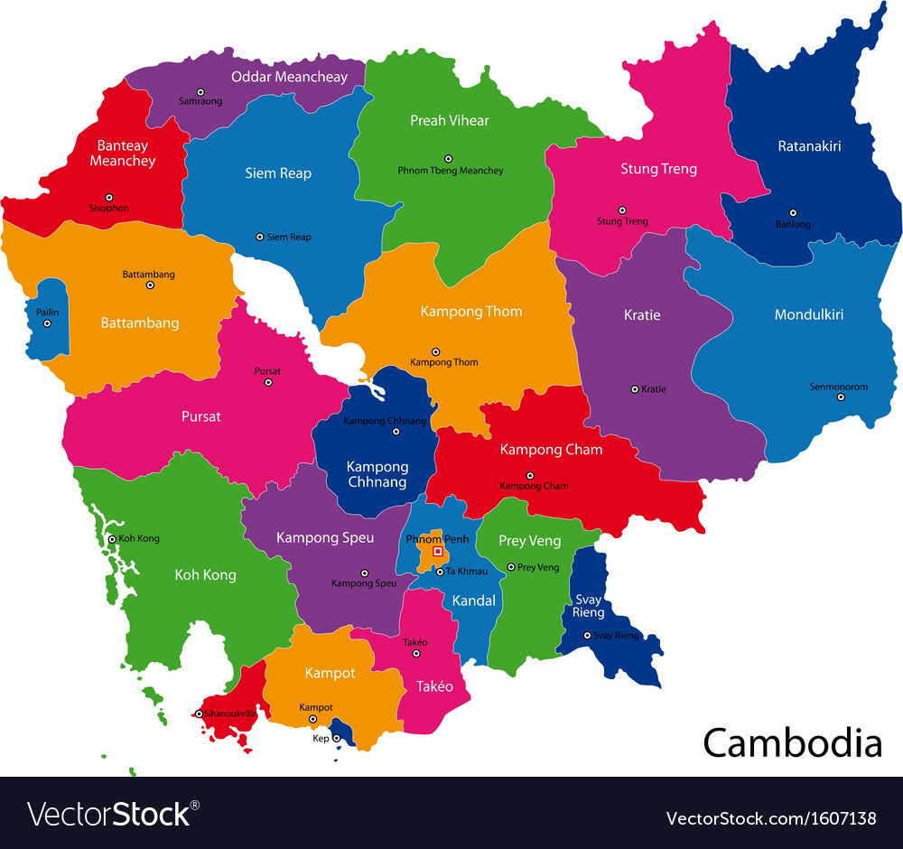 Cambodia map Royalty Free Vector Image - VectorStock