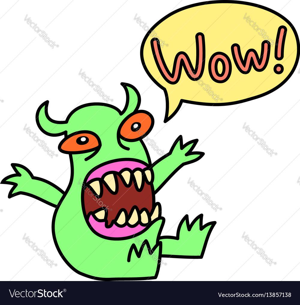 Cartoon monster screaming wow speech bubble
