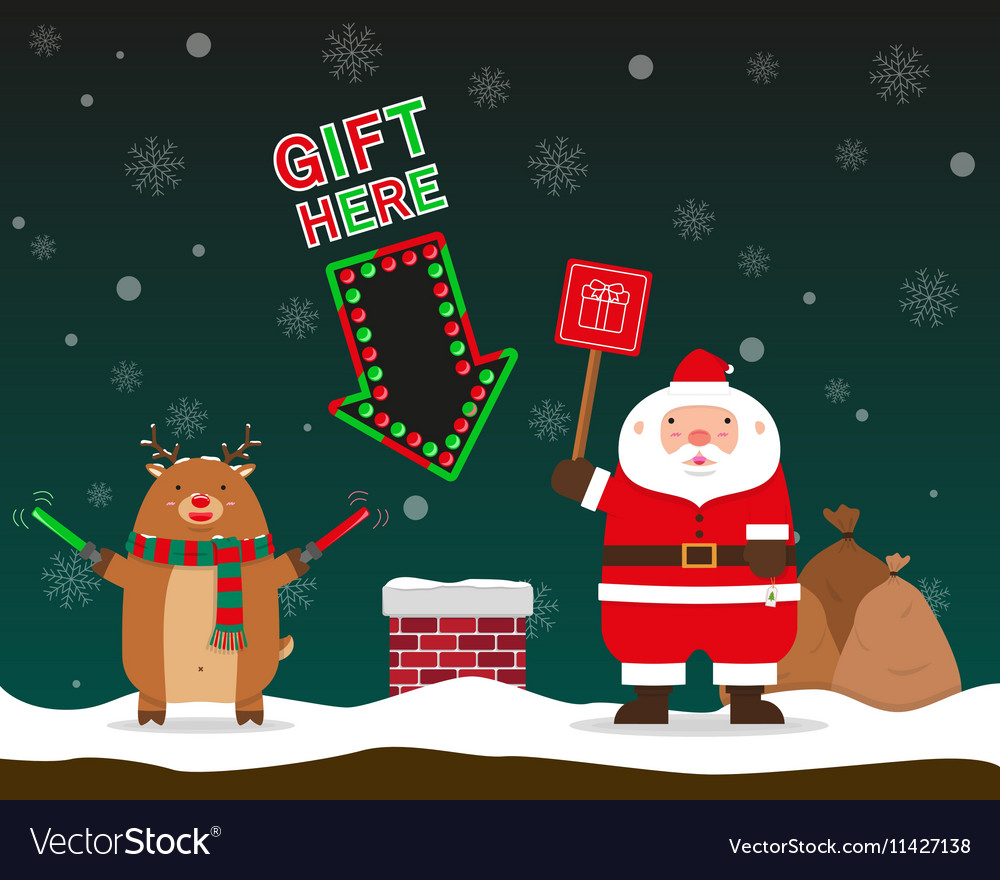 Cute fat big Santa Claus and reindeer signal to