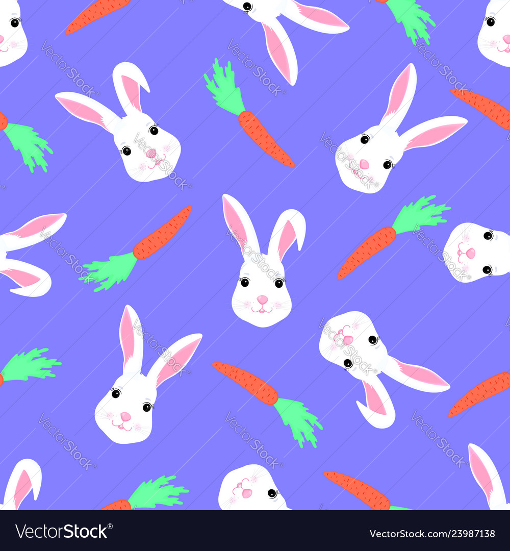 Cute rabbit and carrot seamless pattern funny
