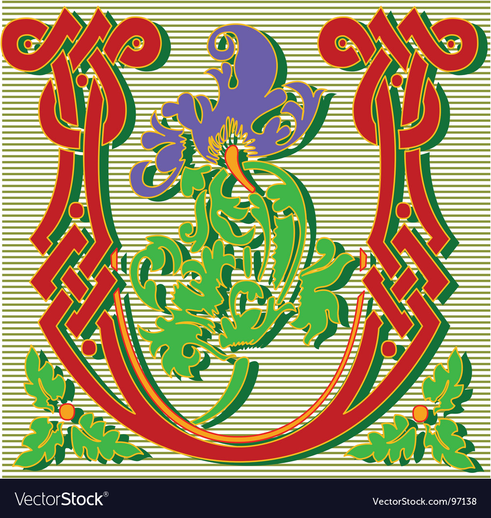 Decorative Letter U Royalty Free Vector Image Vectorstock