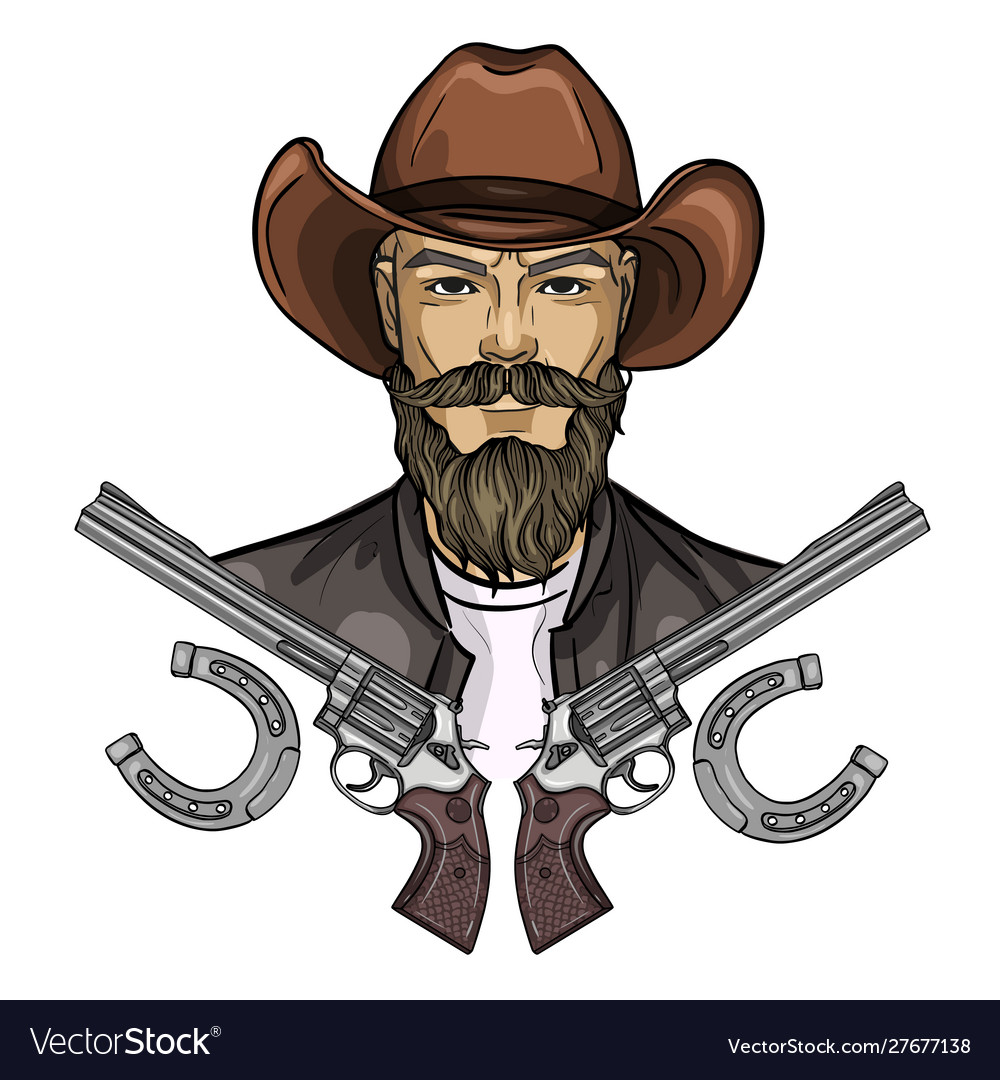 Hand drawn sketch cowboy icon