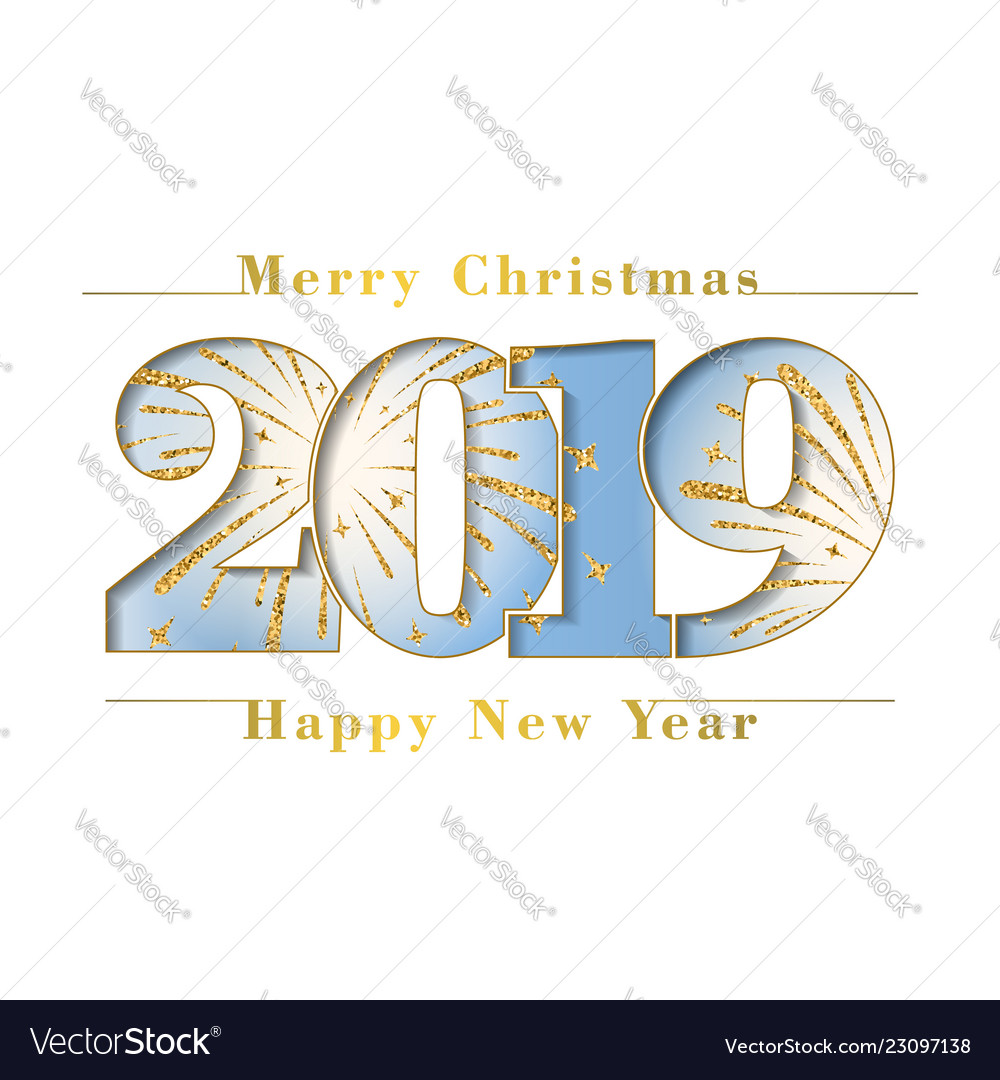 Happy new year merry christmas card blue number