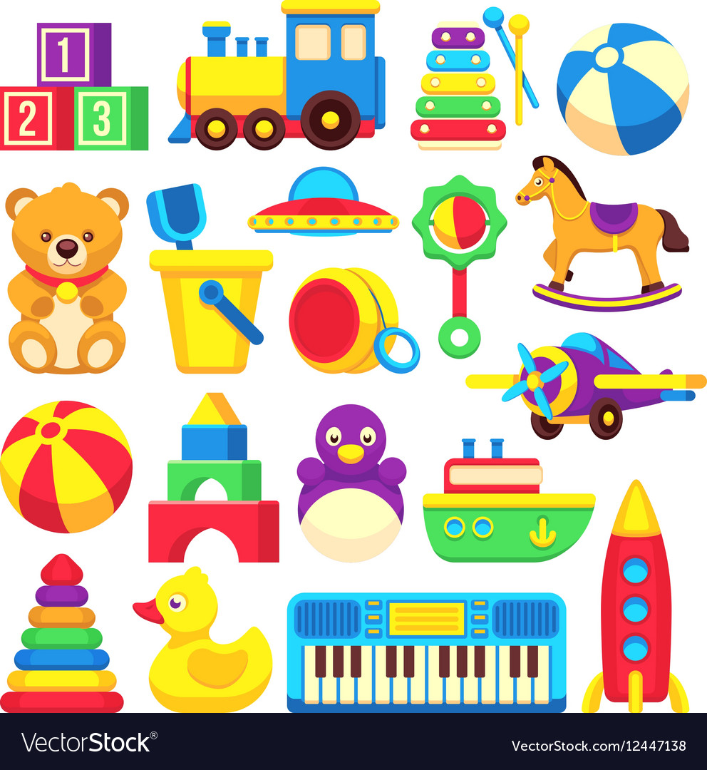 Kids toys cartoon icons collection Royalty Free Vector Image