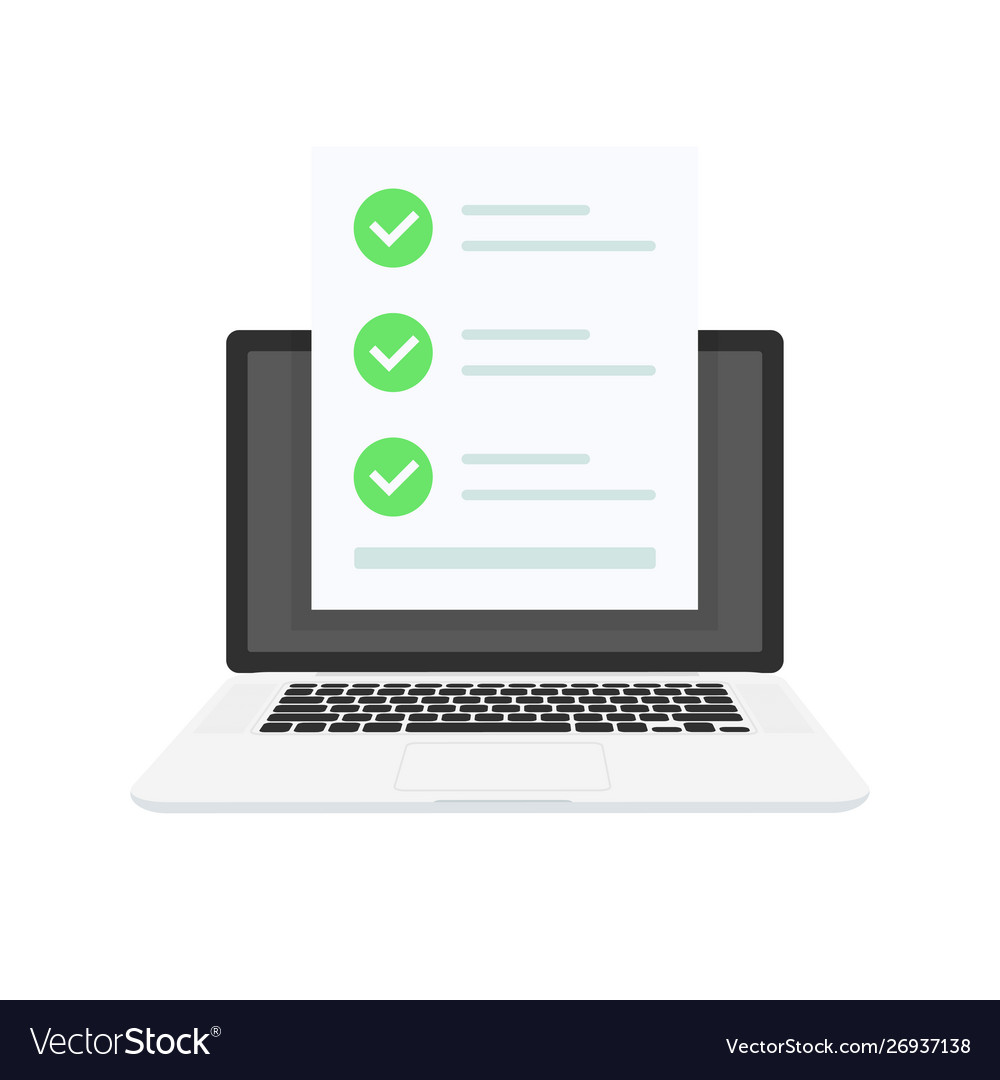 Online Exam Laptop With Checklist Taking Test Vector Image