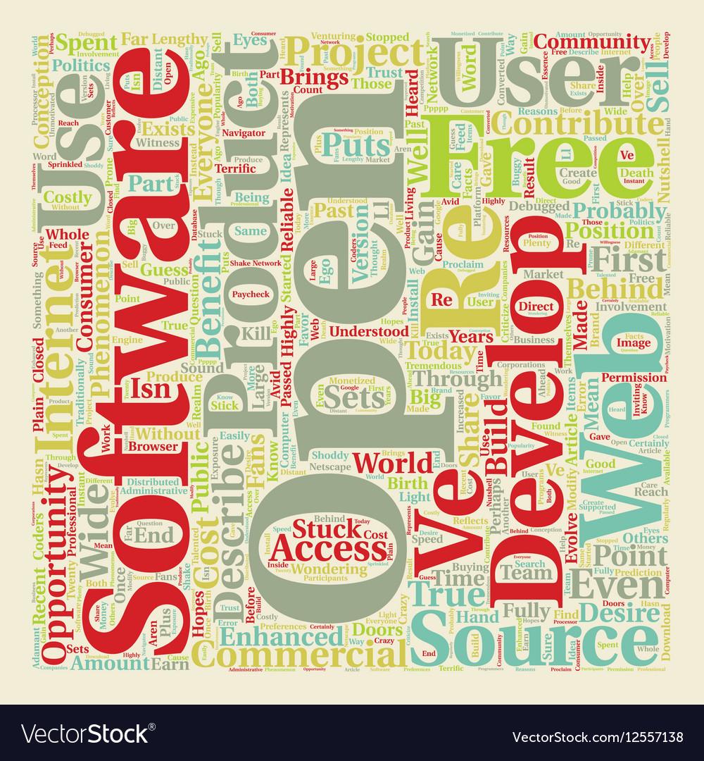 Open Source 1 text background wordcloud concept