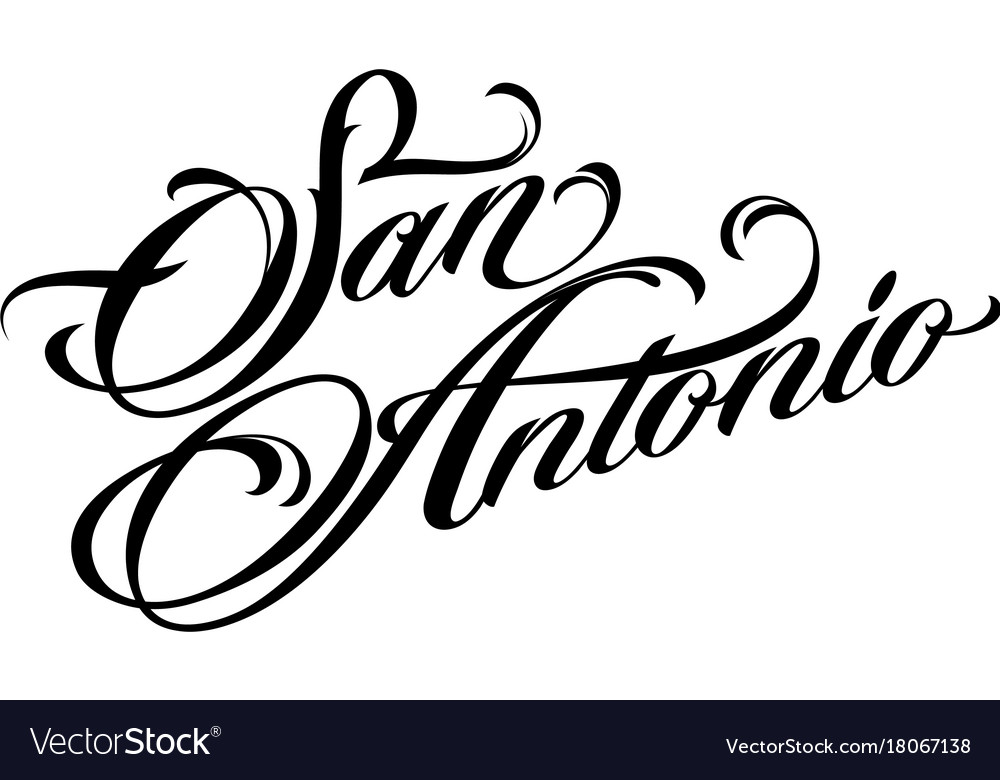 San antonio tattoo lettering Royalty Free Vector Image
