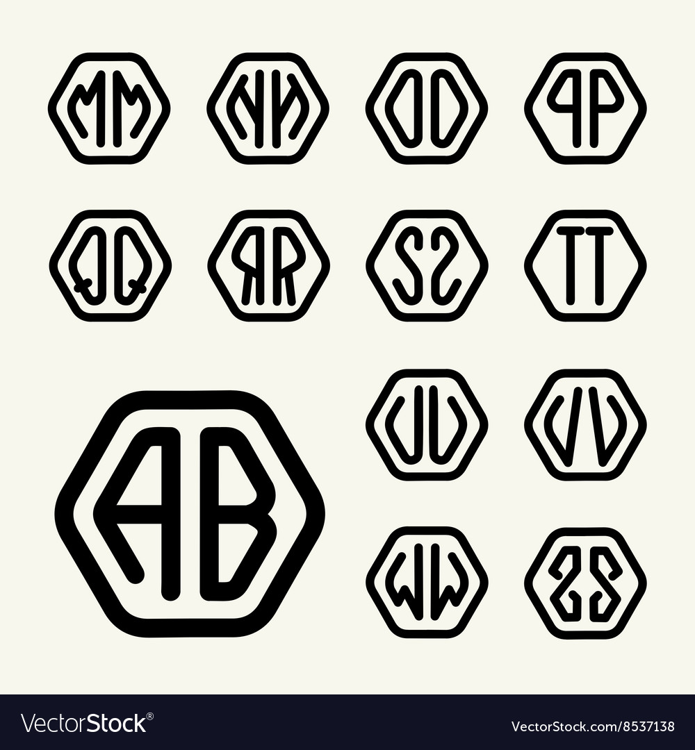 Set 2 create monograms two letters in a hexagon