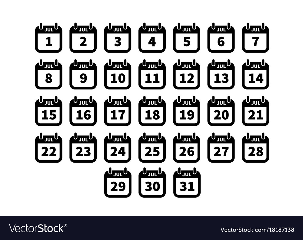 Set of simple black calendar icons on july vector image