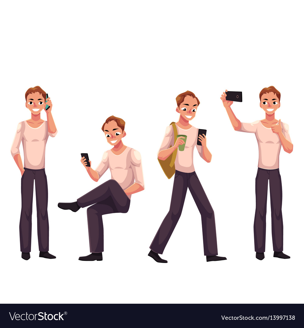 Young man using phone smartphone calling