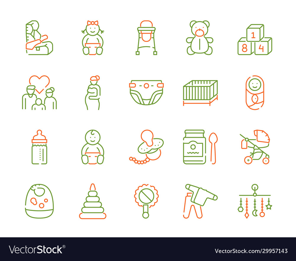 Birth a child color linear icons set