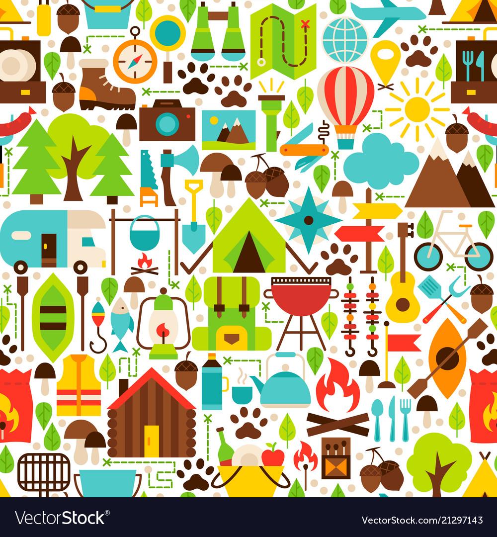 Camping flat seamless pattern