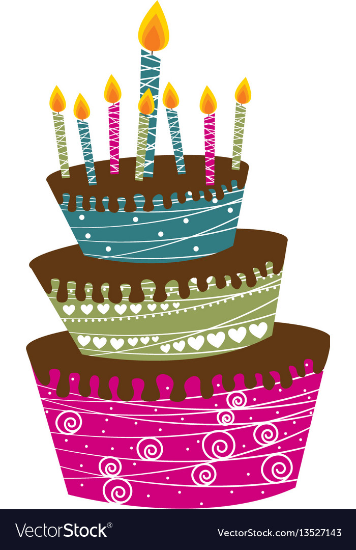 Color big cake party with canddles icon vector image
