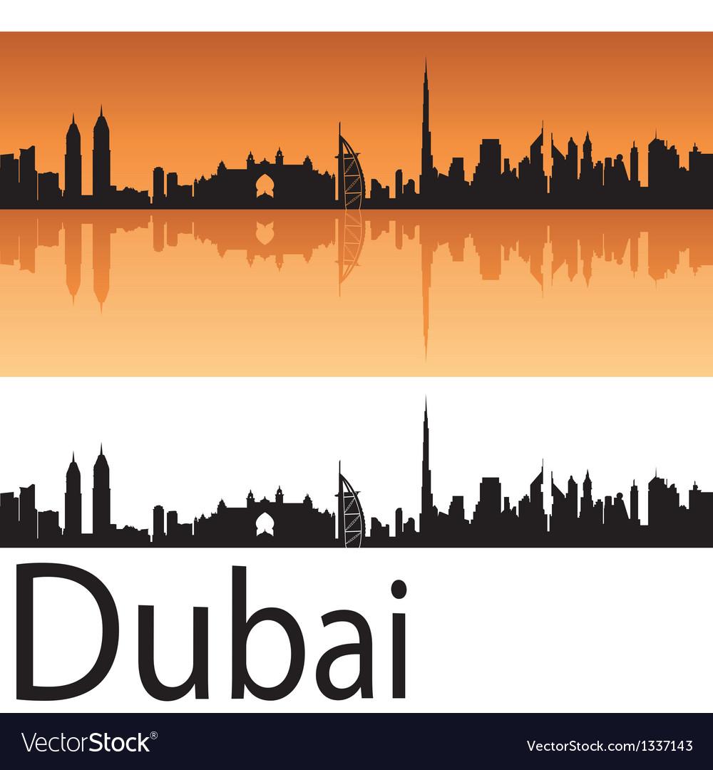 Dubai skyline in orange background