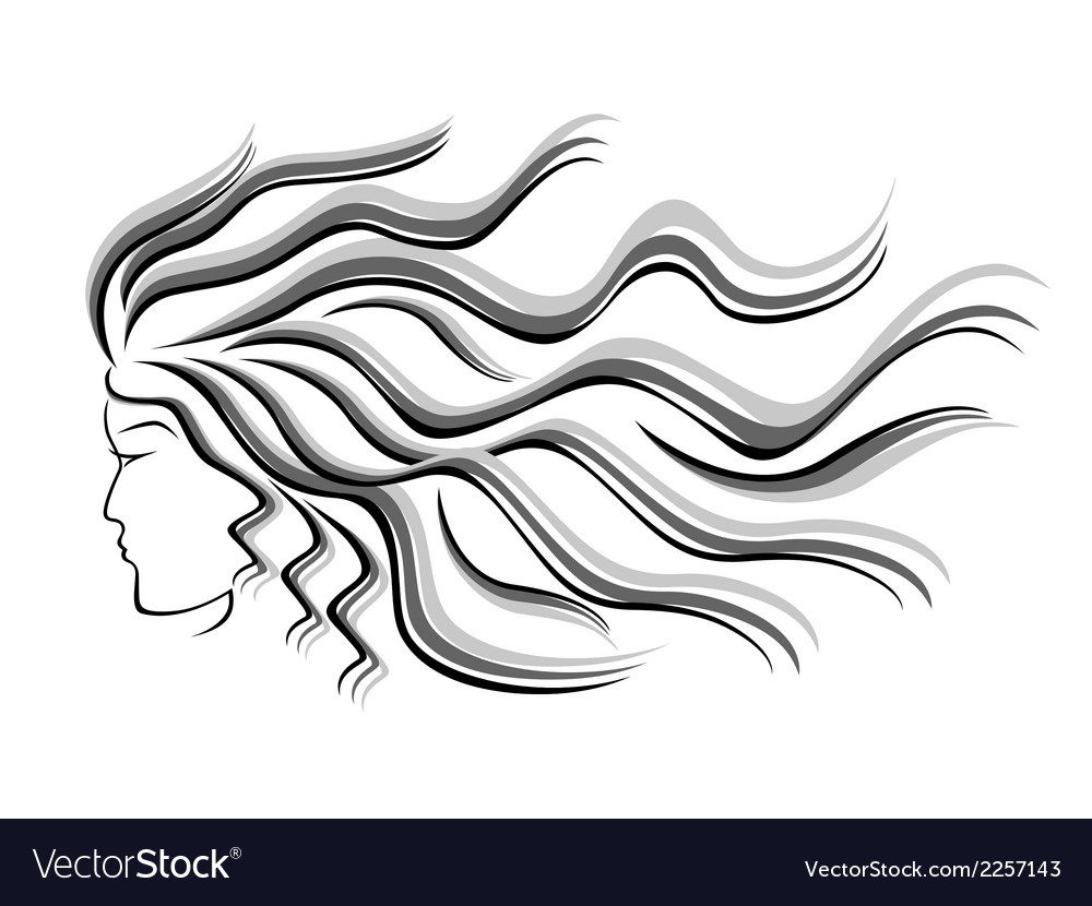 Female silhouette head with flowing hair