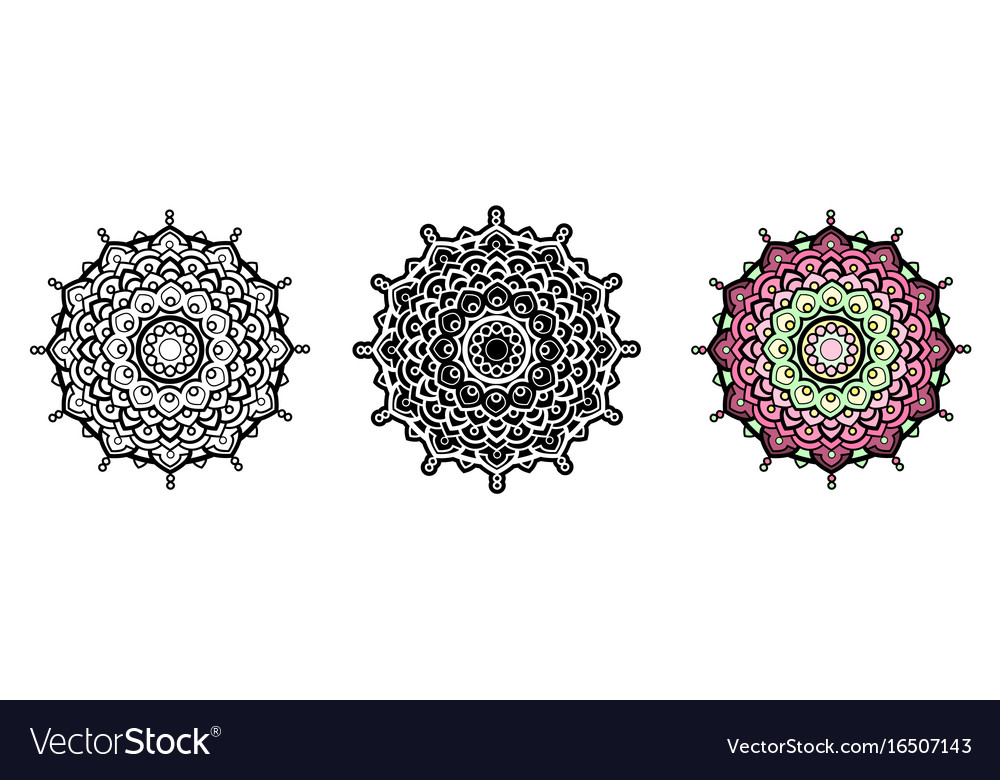 Floral mandala for coloring book and your design vector image