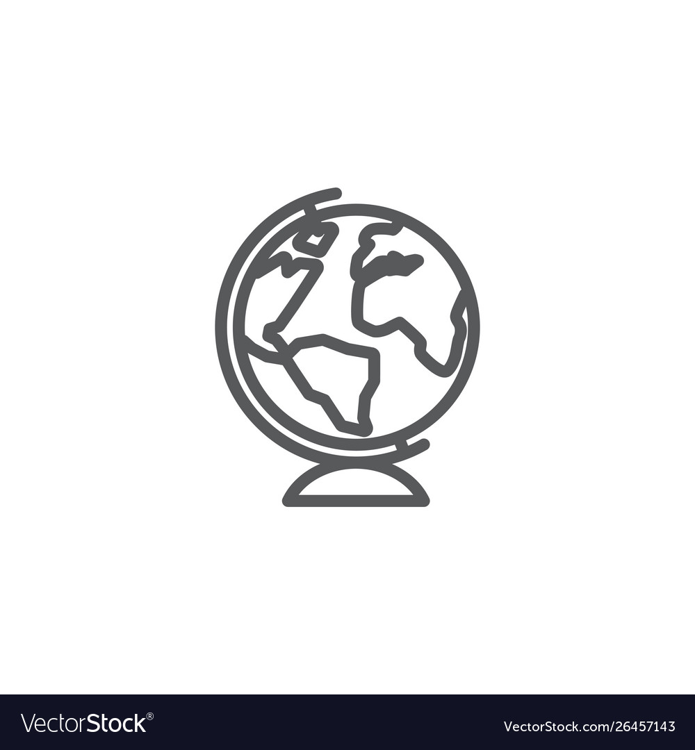 Globe line icon on white background