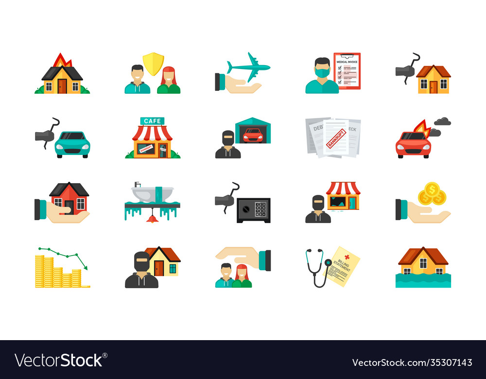 Life insurance icon set private business