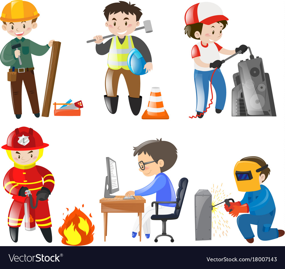 People working different jobs Royalty Free Vector Image