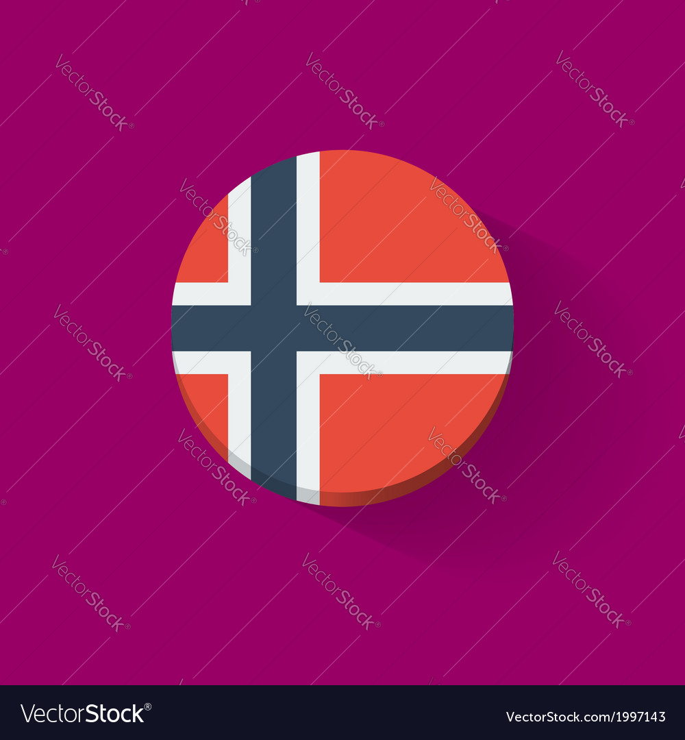 Round icon with flag of Norway vector image