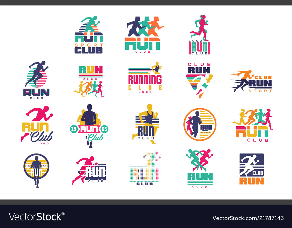 Run sport club logo templates set emblems for