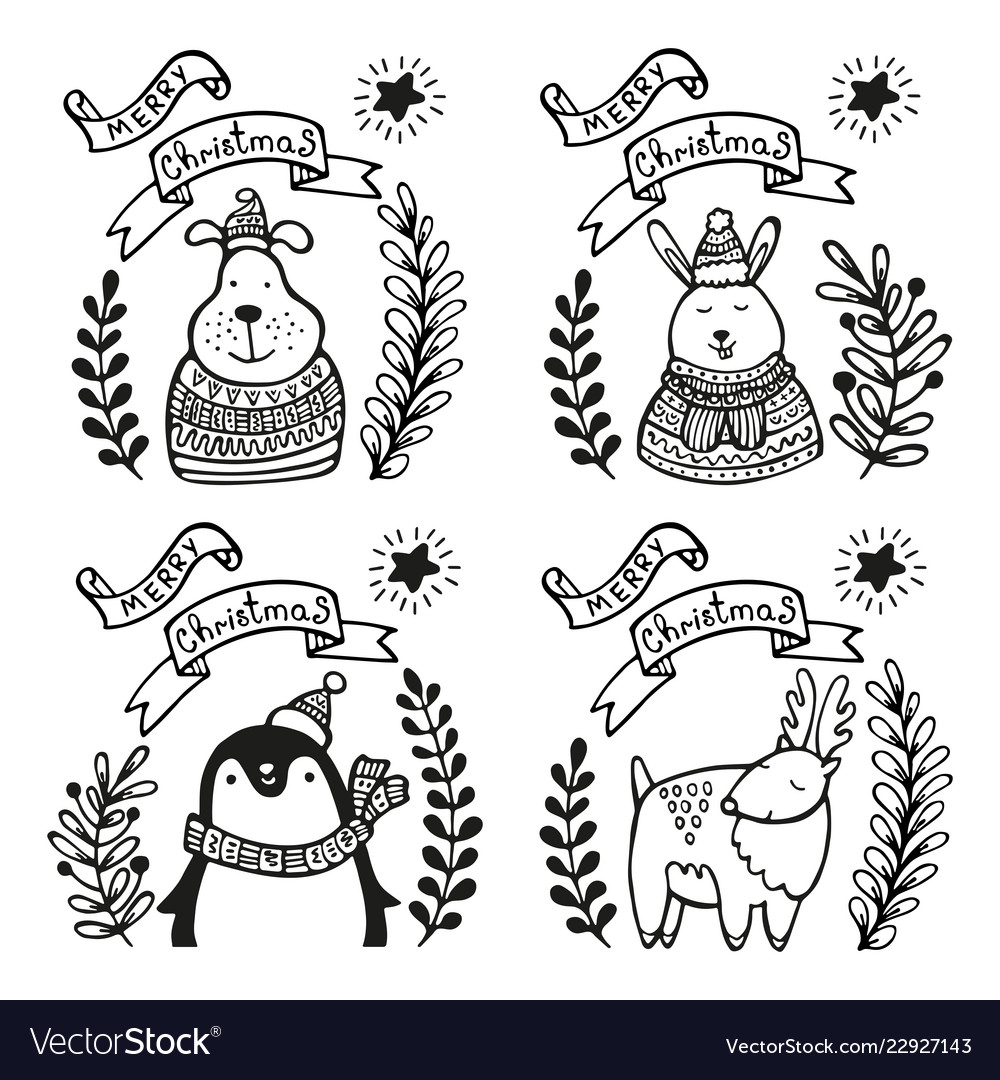 Set christmas greeting cards vector