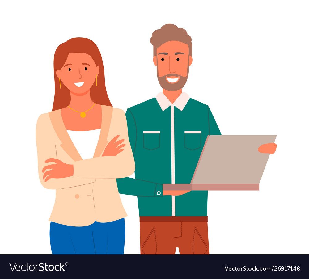 Confident man and woman with laptop isolated