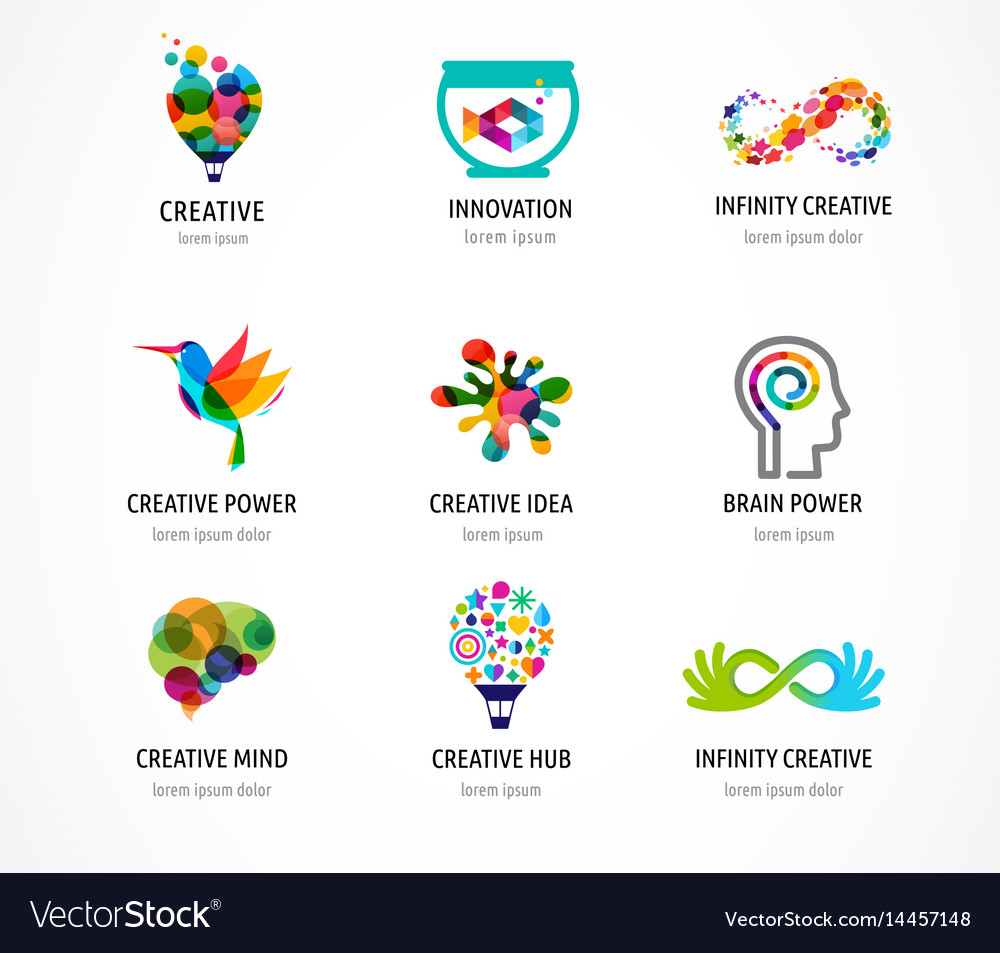 Creative digital abstract colorful icons logos