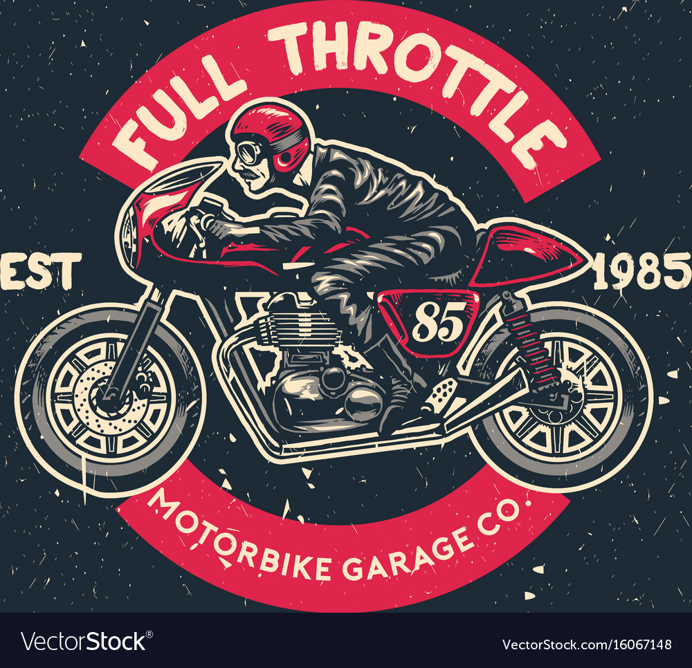 Man Ride Cafe Racer Motorcycle In Hand Drawing Vector Image