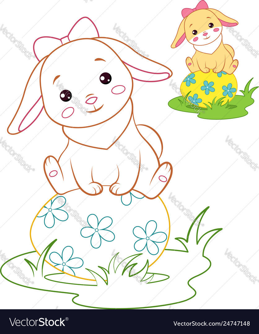Rabbit and easter egg coloring page Royalty Free Vector