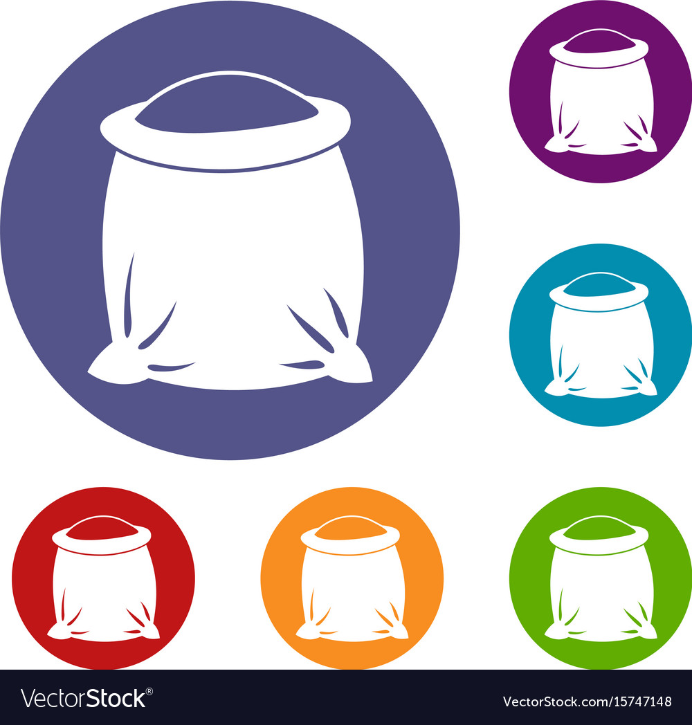 Sack full of flour icons set vector image