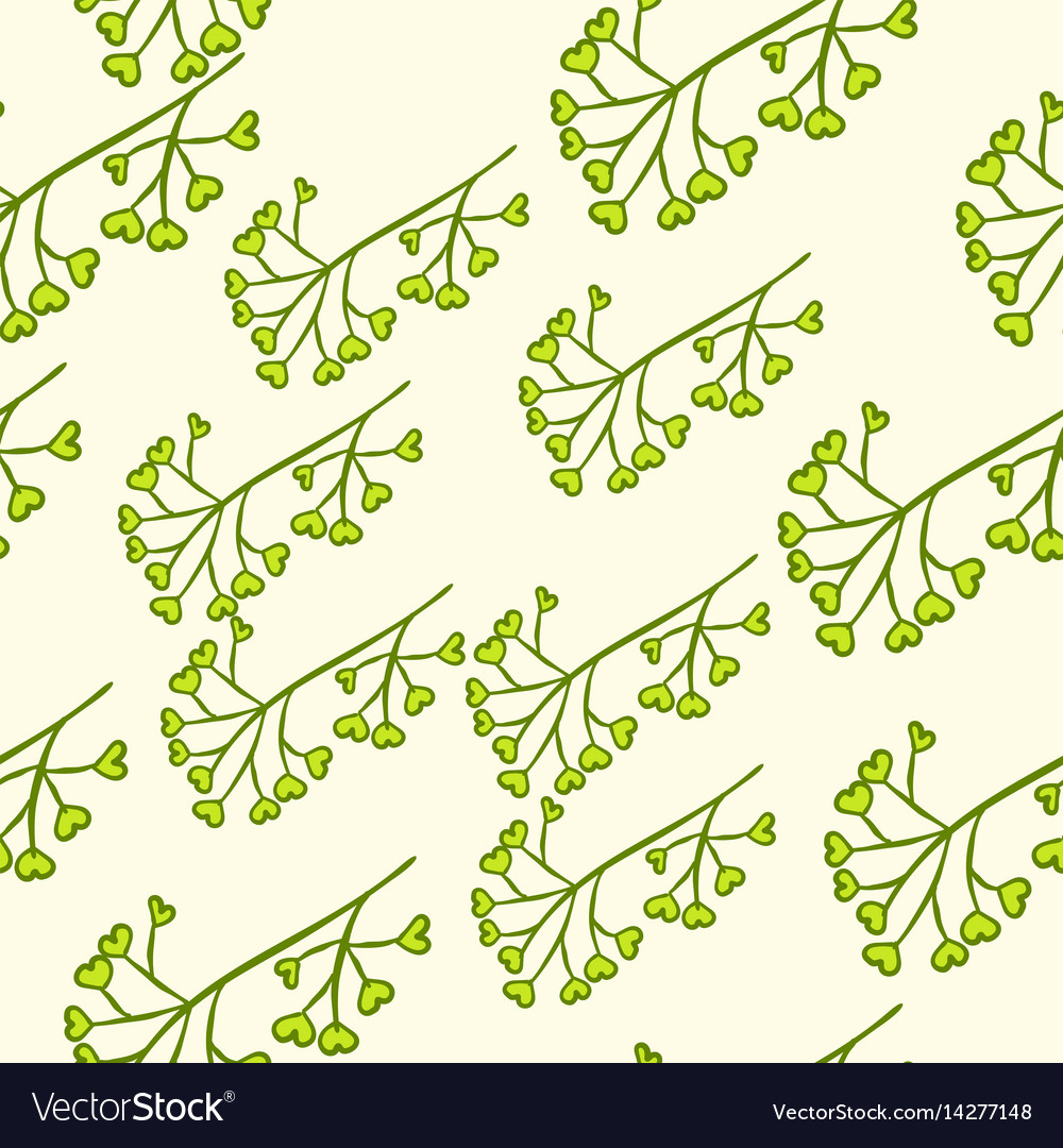 Seamless green berry branch vector image