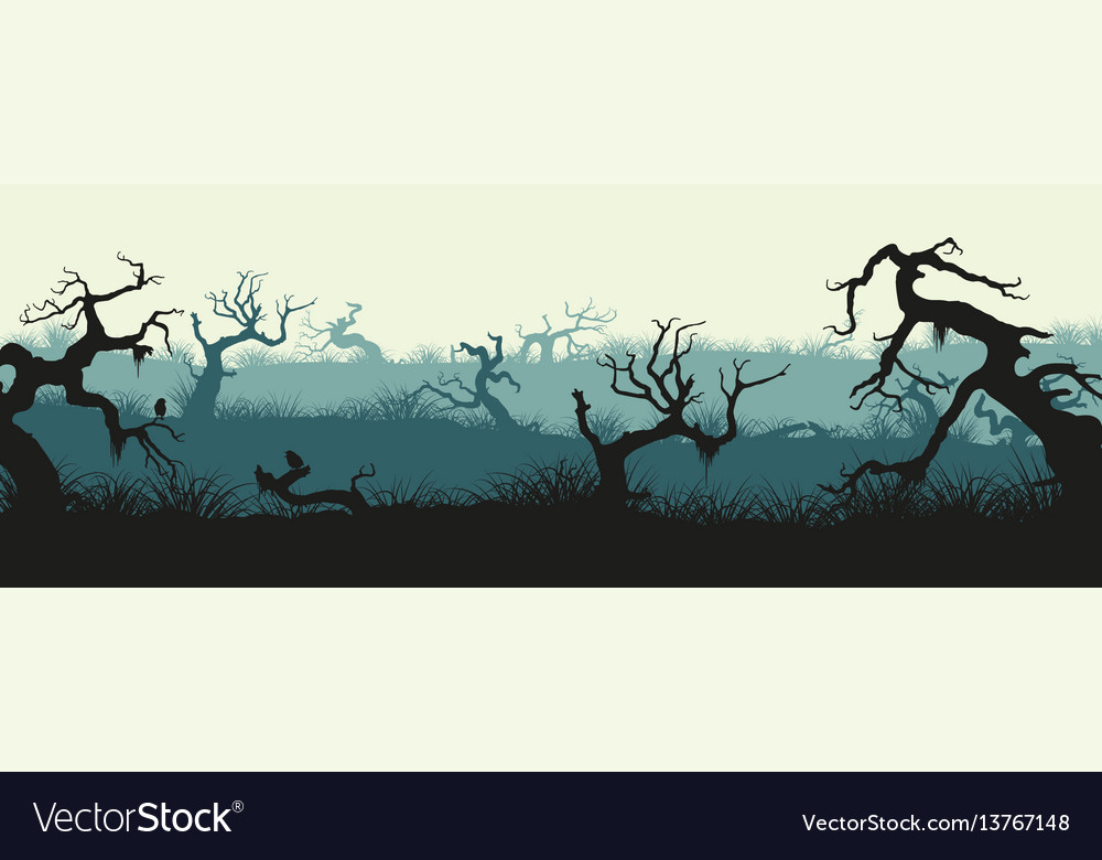 Silhouettes of broken trees and marsh grass