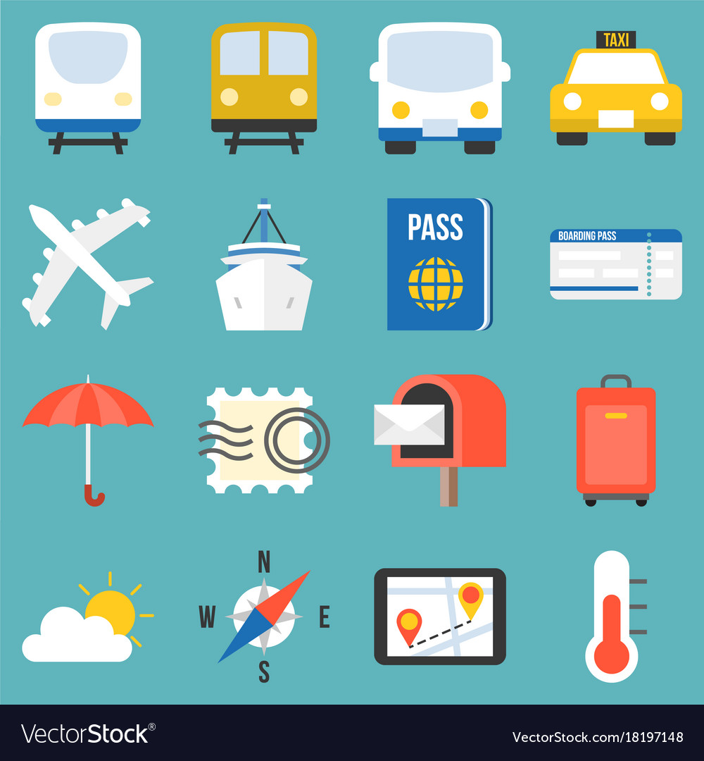 Transportation for travel icon set