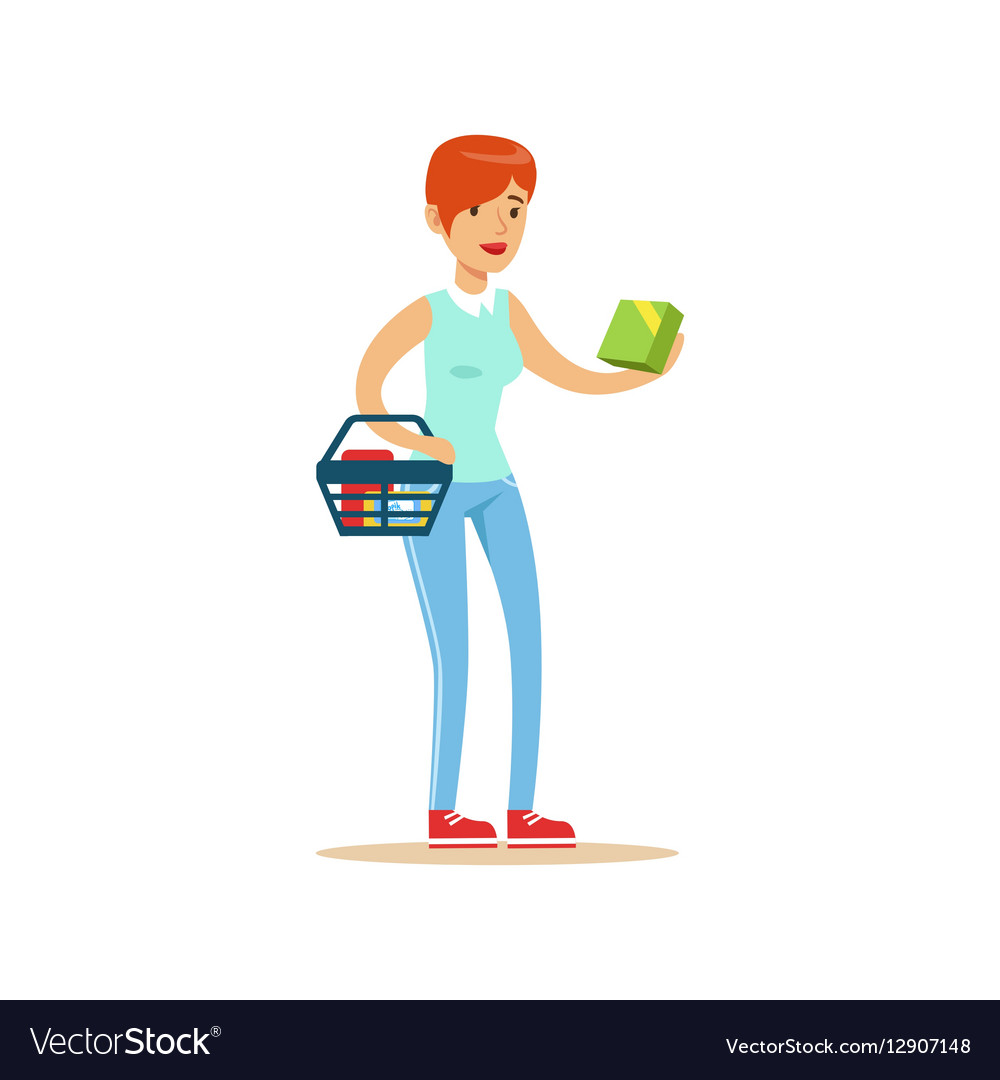 Woman With Basket Shopping In Department Store