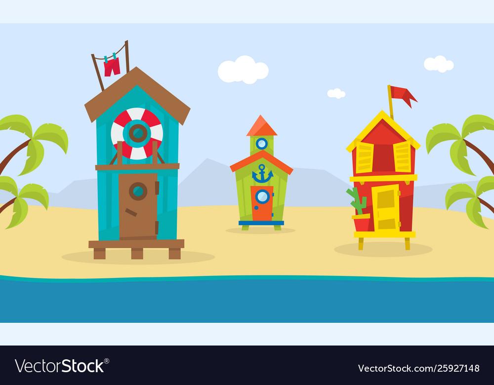 Wooden bungalows on tropical coast sea beach