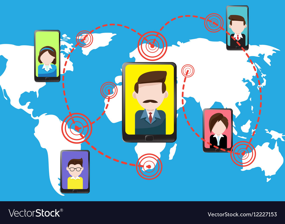 Communications smartphone tablet and people vector image